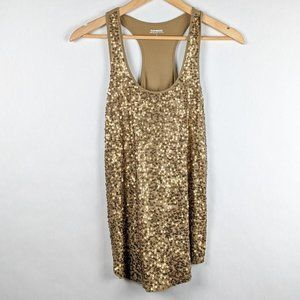 Express Racer Back Gold Sequin Tank S